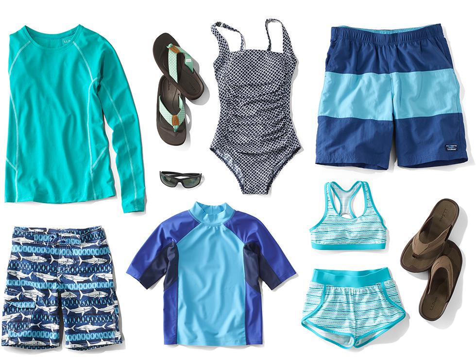 An assortment of L.L. Bean swimwear and accessories.