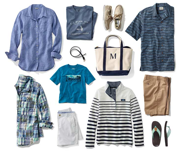 Collection of summer clothing and accessories.