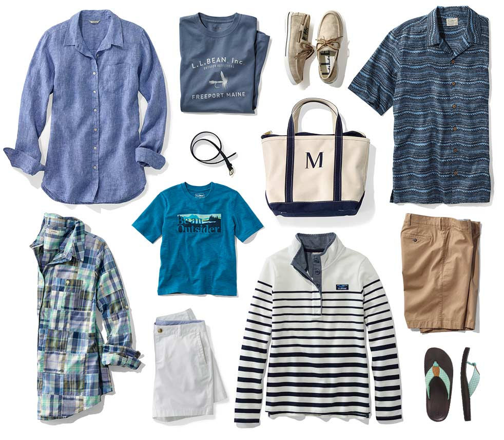 Collection of L.L.Bean summer clothing and accessories.