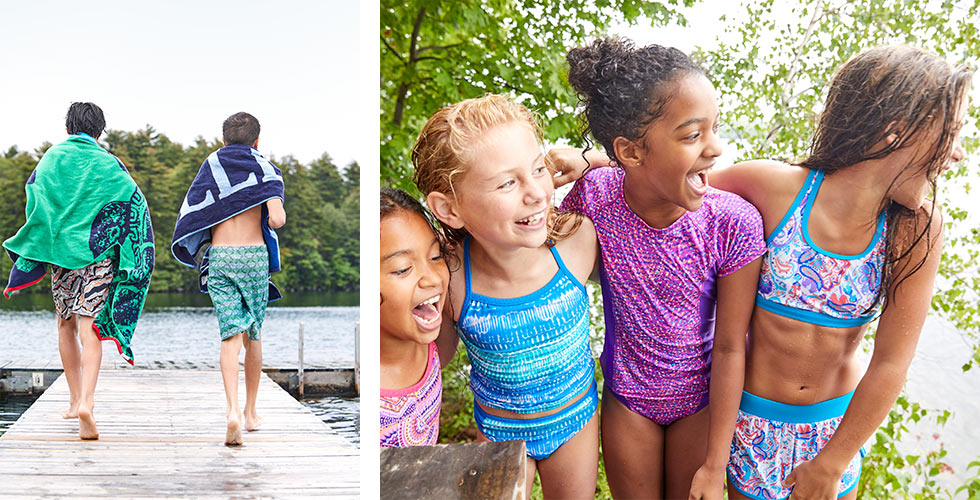 Kids playing by the water in L.L.Bean swimwear.