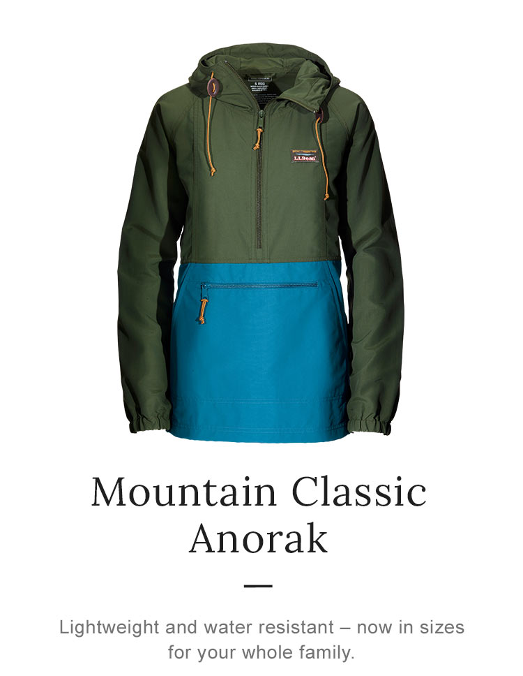 Mountain Classic Anorak. Lightweight and water resistant – now in sizes for your whole family. '