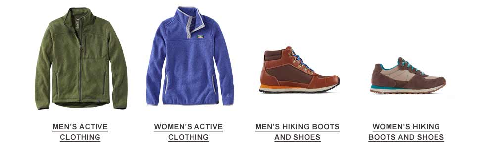 Selection of active clothes and hiking footwear..