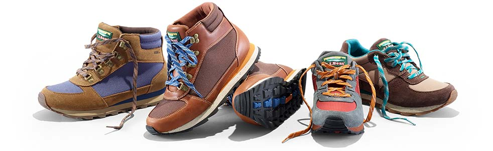 Different hiking boots and shoes.