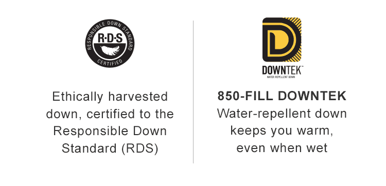 Responsible Down Standard Certified. DownTek water-repellent down.