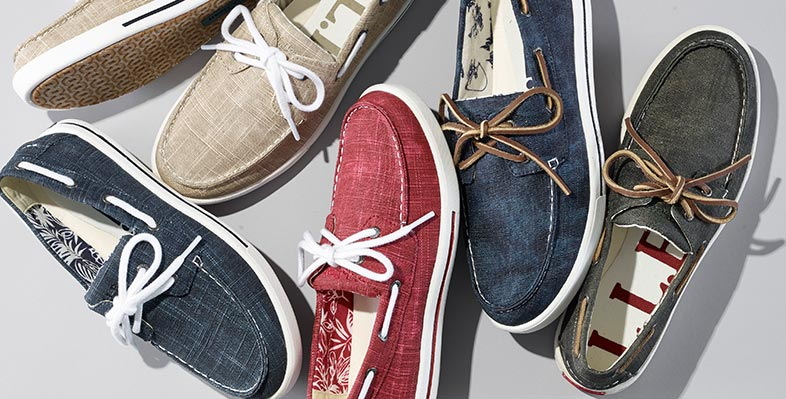 A collection of colorful Sunwashed Canvas Boat Shoes.