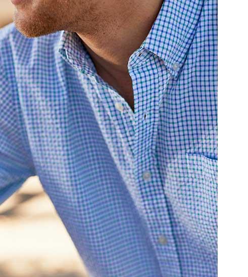 Close-up of Seersucker Shirt.