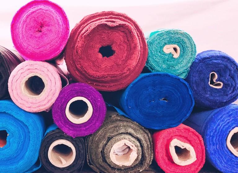 Rolls of surplus fabric.