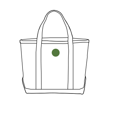 Image of monogram placement on Tote Bags.