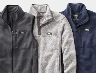 Close-up of men's fleece vest, pullover and full-zip jacket.