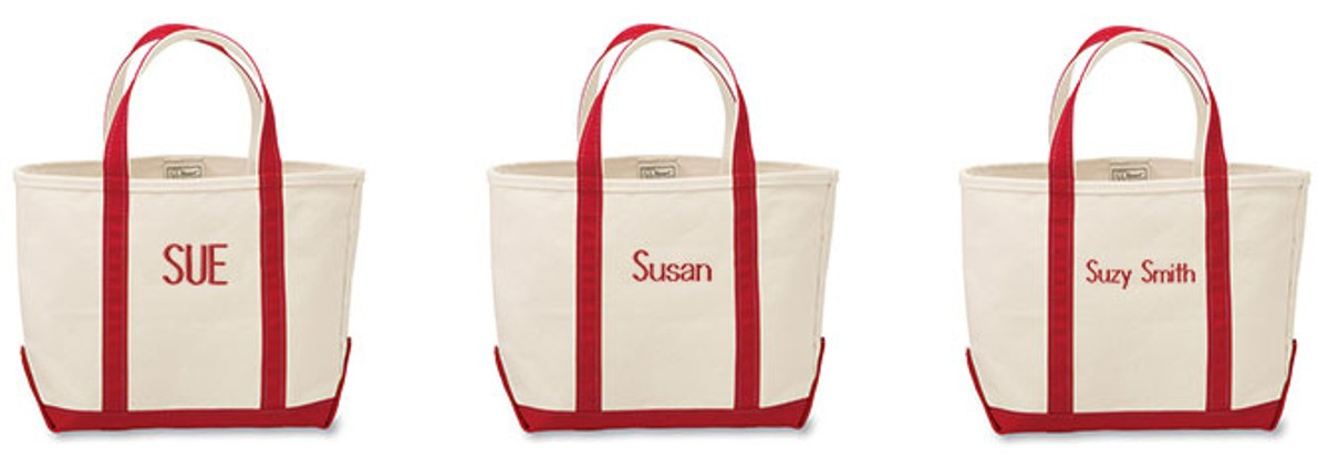 Image with examples of monograms on Boat and Tote bags.