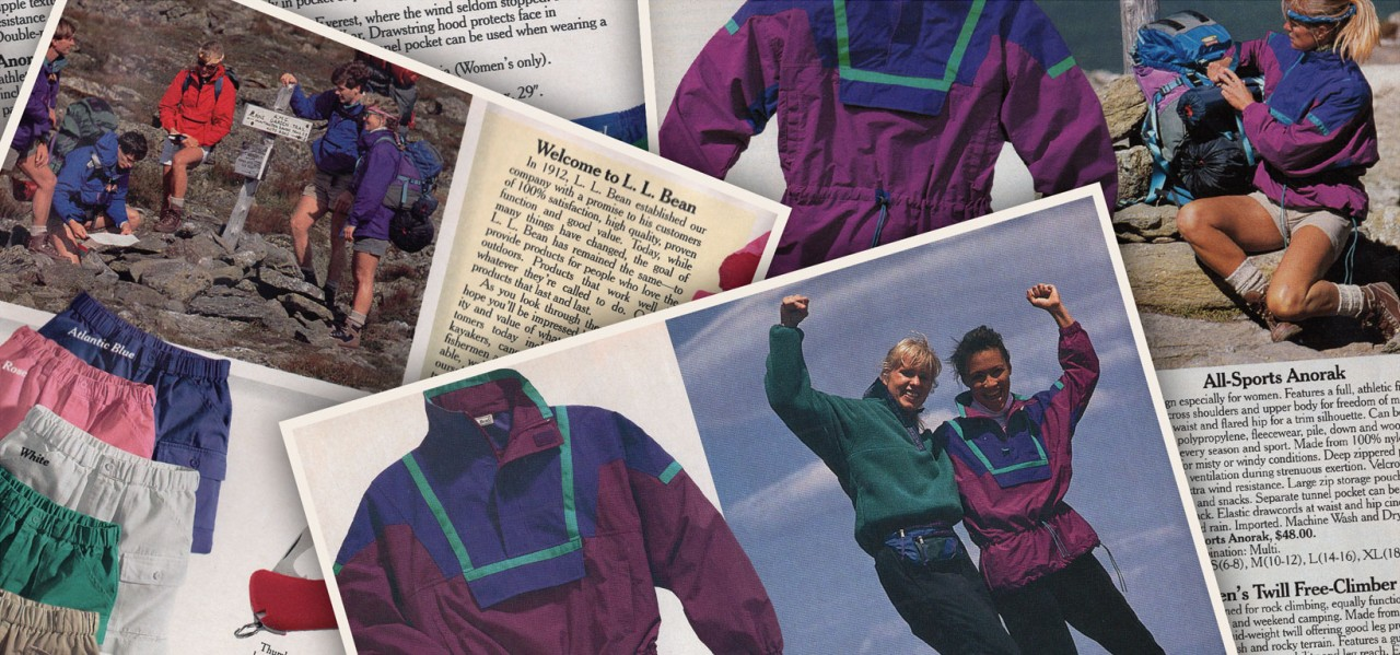 Close-up of several 1990's catalog pages featuring color-block anorak.