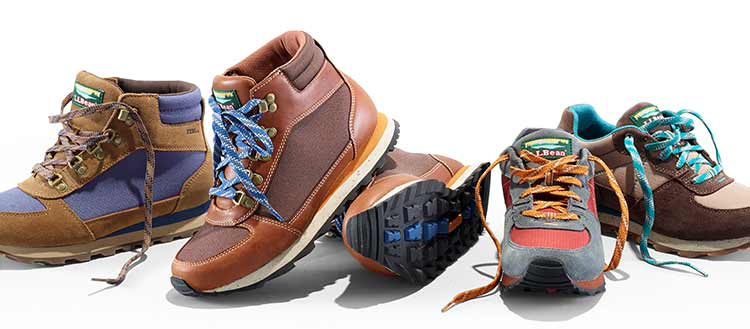 different hiking boots and shoes.'