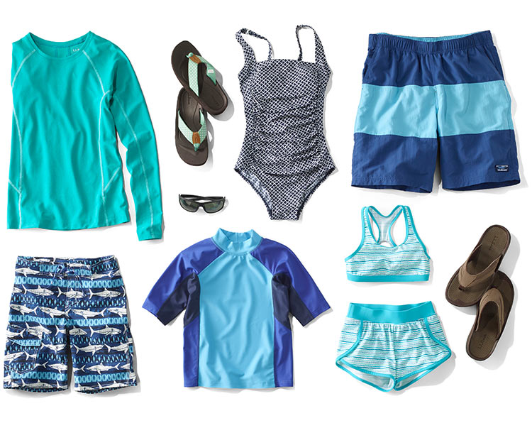 A collection of L.L. Bean swimwear and accessorries.