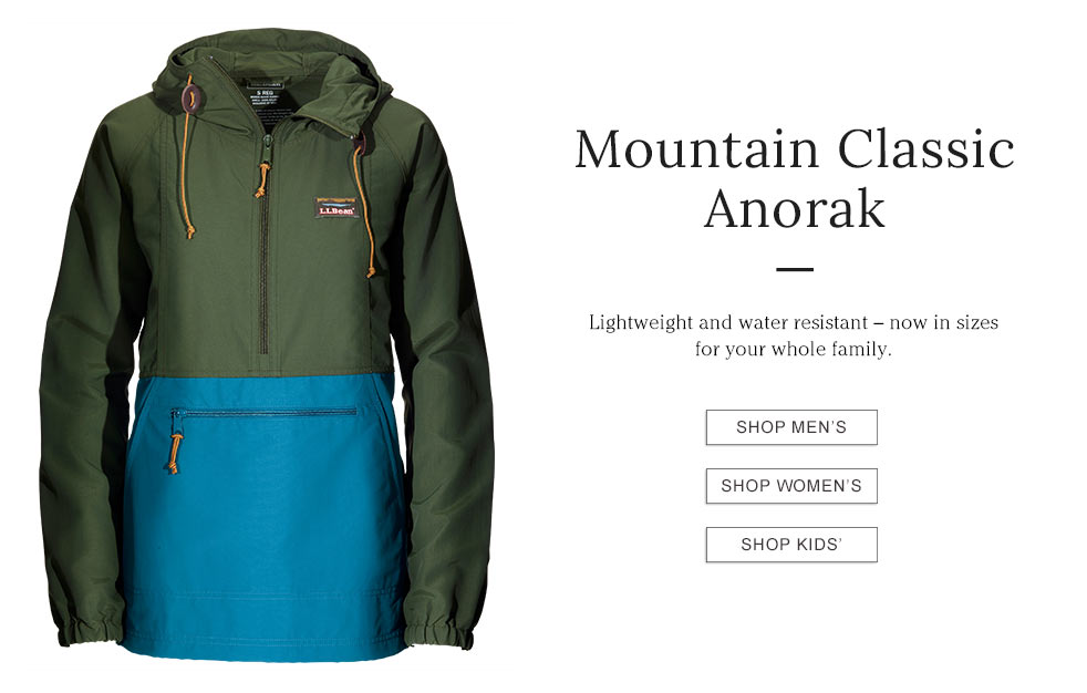 Mountain Classic Anorak. Lightweight and water resistant – now in sizes for your whole family.